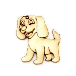 Pendant wooden dog 30x25x2 mm - 10 pieces