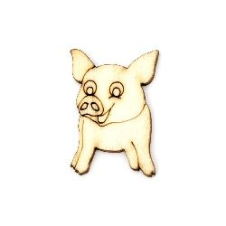 Wooden figurine small pig for decoration  40x25x3 mm - 10 pieces
