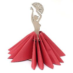 Wooden napkin holder in shape of flamenco dancing lady № S03 11x31 cm