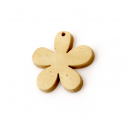 Wooden Pendant Flower for decoration  29x29x4 mm hole 1.5 mm color tree - 5 pieces