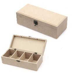 MDF box for decoration with fastener 28x12x9 cm 4 sections