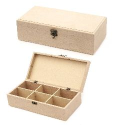 MDF box for decoration with fastener 31x15x9 cm 6 sections
