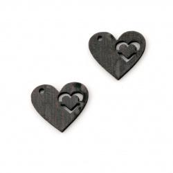 Фигурка кафява МДФ за декорация сърце 15x18x3 мм - 10 броя