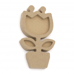 Unfinished MDF figurine for decoration 80x142x15 mm tulip in a pot