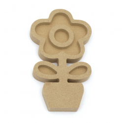 Unfinished MDF figurine for decoration 82x142x15 mm flower in a pot