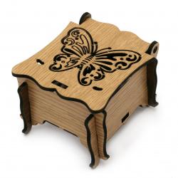 Кутия сгъваема МДФ за декорация 75x65x50 мм кафява