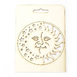 Round figure with face Day and night from chipboard 11 cm