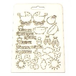 Set of chipboard elements for embellishment of greeting cards, invitations, baby accessories boxes