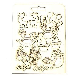 Set of elements from chipboard for decorations of festive cards, baby albums, party accessories