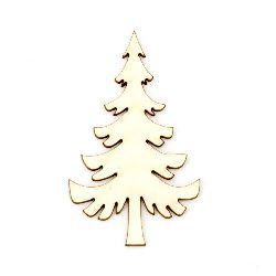 Christmas tree made of chipboard for handmade decorations 50x30x1 mm - 2 pieces