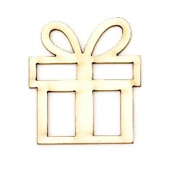 Christmas gift from chipboard, openwork element for decoration of greeting cards, albums 50x45x1 mm - 2 pieces