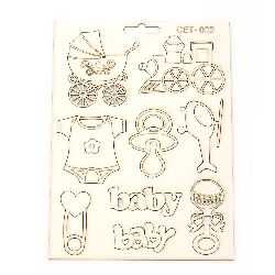 Set of chipboard elements, baby set № 002  for embellishment of greeting cards, albums, scrapbook projects