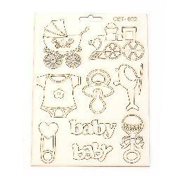 Комплект елементи от бирен картон Сет № 002 бебе