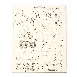 Set of chipboard elements Set № 006 for making greeting cards, invitations, baby accessories boxes
