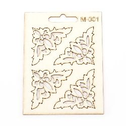 Set of elements of chipboard M-001 ornaments for home decoration