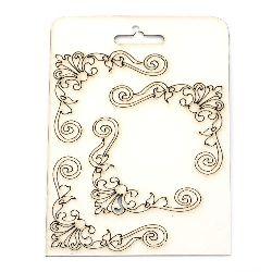 Set of elements of chipboard ornaments, curved corner elements  for albums, scrapbook 7.5 cm
