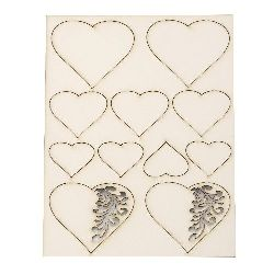 Set of elements of chipboard hearts for handmade hobby projects