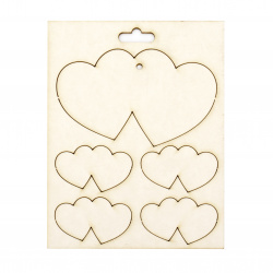 Set of elements of chipboard large hearts  55x90 mm and small hearts 25x43 mm - 5 pieces