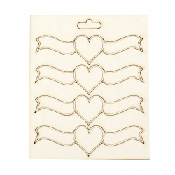 Set of elements of chipboard heart for various decorations making 25x90 mm - 4 pieces