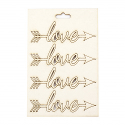 "Set of elements made of chipboard ""LOVE"" inscription shaped 30x85 mm - 4 pieces"