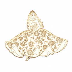 Princess made of chipboard  for handmade art projects with sprinkling with glitter, painting 115x133 mm