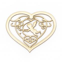 Сърце с ангел от бирен картон 80x90 мм
