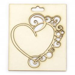 Сърце с орнаменти от бирен картон 90x85 мм