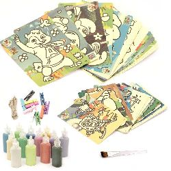 Set of sand paintings 15x20 cm -20 pieces, 20.4x27.4 cm -20 pieces, sand 24 colors