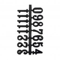 Set of digits for clockwork adhesive 16 mm Arabic - black