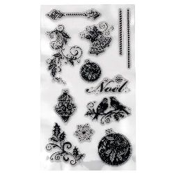 Silicone Print 11x20mm Christmas Balls