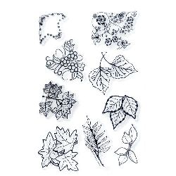 Clear Stamp 11x16 cm leaves and ornaments with flowers