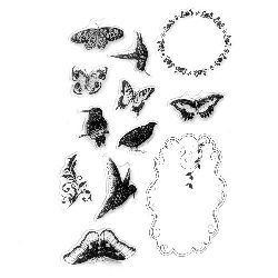Clear Stamp 11x16 cm birds and butterflies