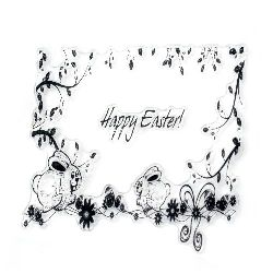 Clear Stamp 10x10 cm Happy Easter rabbits
