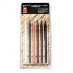 Set of color pencils without wood - 6 mixed brown colors