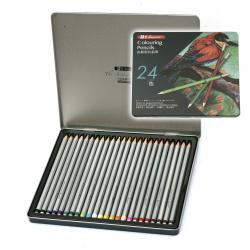 Set of watercolor pencils in a metal box -24 colors