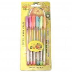 Σετ στυλό, ιριδίζοντα χρώματα και άρωμα φρούτων -6 κομμάτια