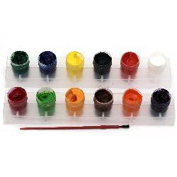 Set de acuarele din 12 culori în 2 suporturi și o perie pentru pictură