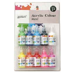 Set of Acrylic Paints, 10 Colors x 30 ml
