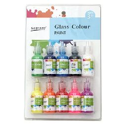 Glass paint set 10 colors x 30 ml