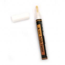 Акрилен водоустойчив маркер 2-3 мм бял -1 брой