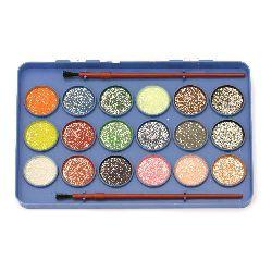 Комплект водни бои 18 цвята с брокат и 2 четки за рисуване