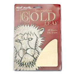 Decorative foil imitation of Mont Marte boil 14x14 cm gold -25 sheets