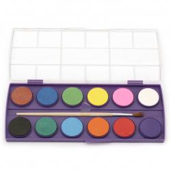 Комплект водни бои 12 цвята с 1 четка за рисуване