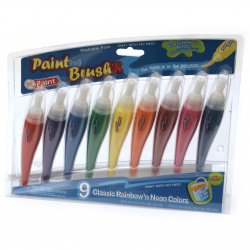 Set of paints in a tube with a brush 9 colors x 24 ml