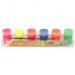 Комплект флуоресцентни бои 6 цвята x 25 мл в поставка и четка за рисуване
