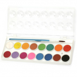 Set of watercolor paints 16 colors with a brush for painting