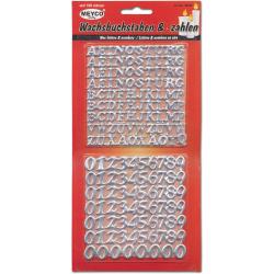 Комплект восъчни букви 10 мм и цифри 14 мм Meyco сребро