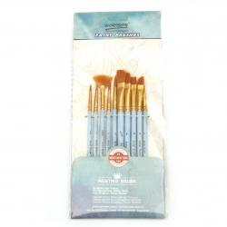 Комплект четки за рисуване плоски и обли от синтетично влакно ТАКЛОН 10 броя
