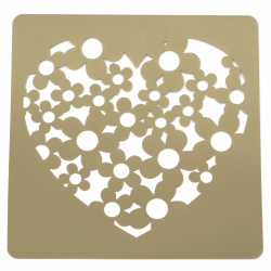 Template for embossing  and Mix media 20x20 mm heart with flowers