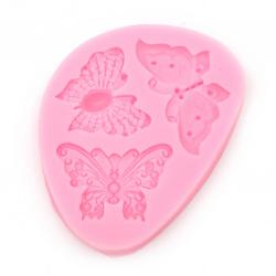 Силиконов молд /форма/ 70x95x11 мм пеперуди